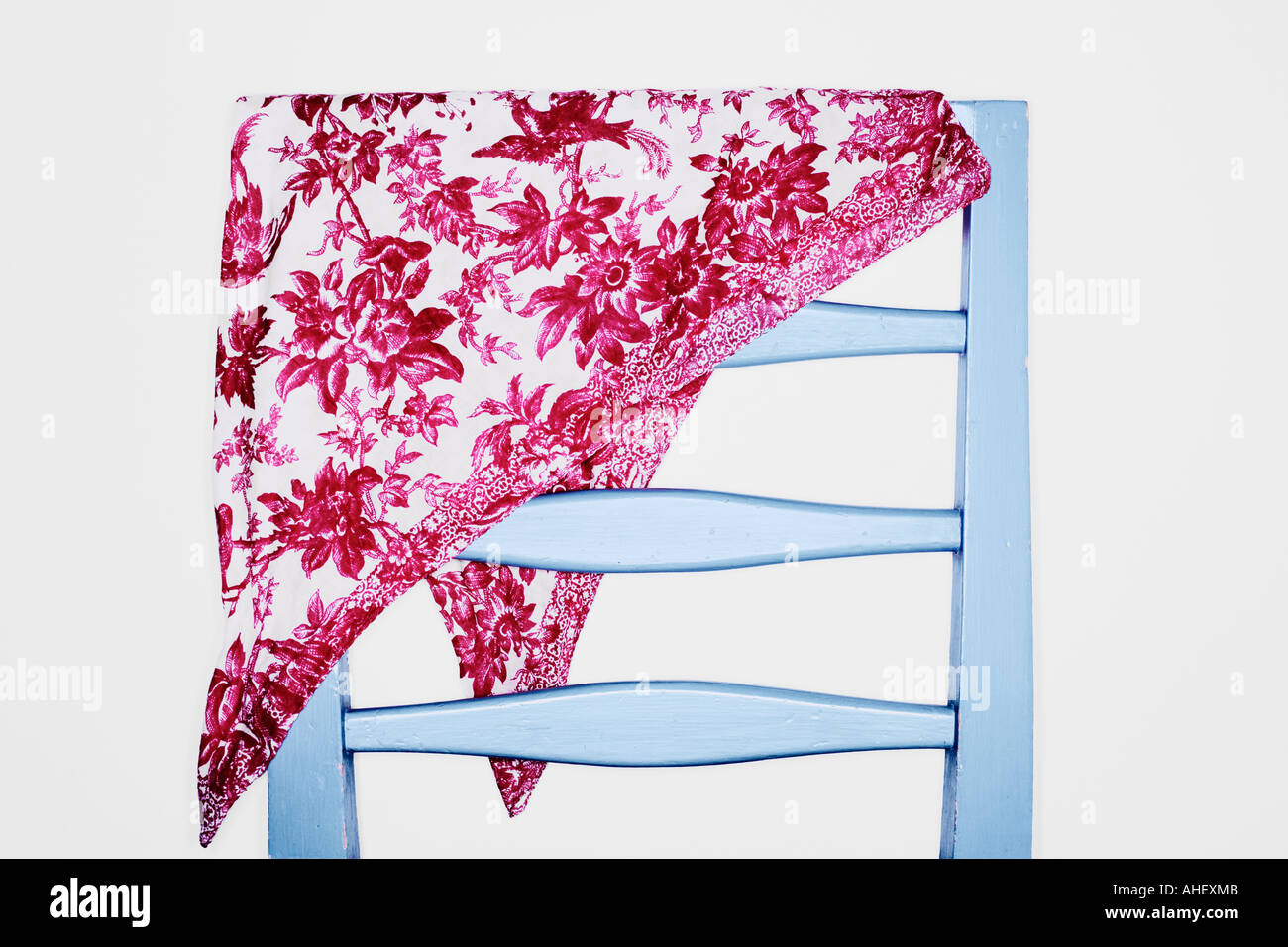Blue Art Deco Chair And Neckerchief With Floral Pattern - Stock Image