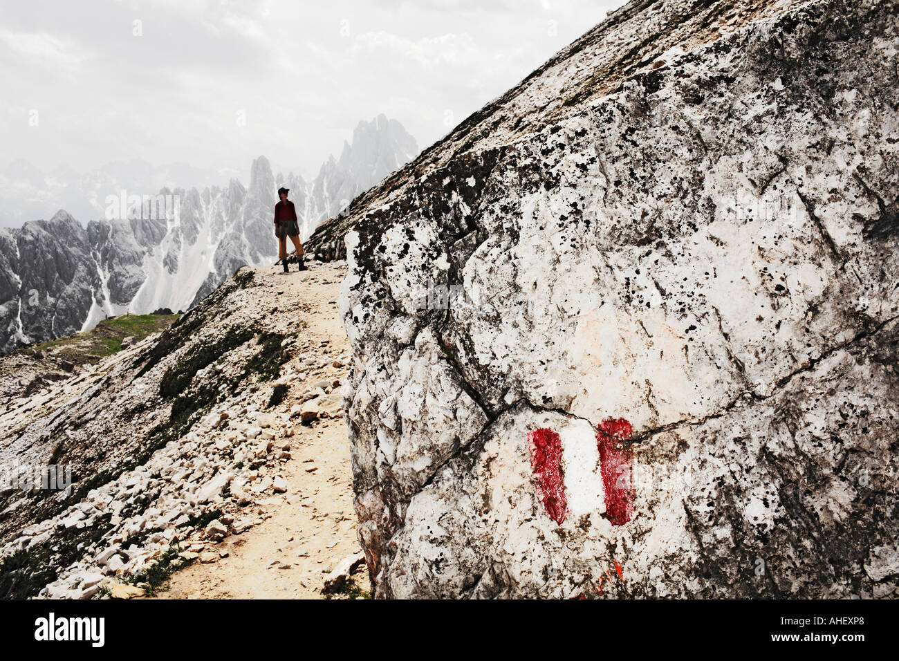 Mountain Climber Looking Up Slope Dolomites Tre Cime Three Peaks Alps Italy - Stock Image