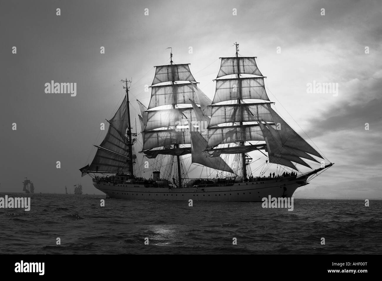 Tall ship on the open ocean - Stock Image