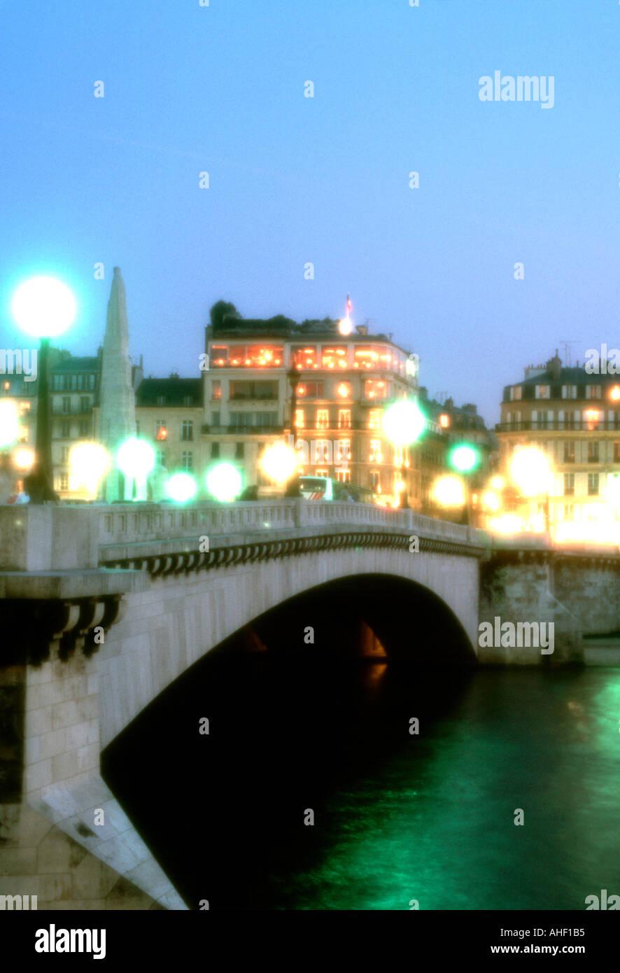 Romantic View, Paris, France, 'Ile Saint Louis' with Pont Marie Bridge 'Lit Up' at Night, Soft Focus - Stock Image