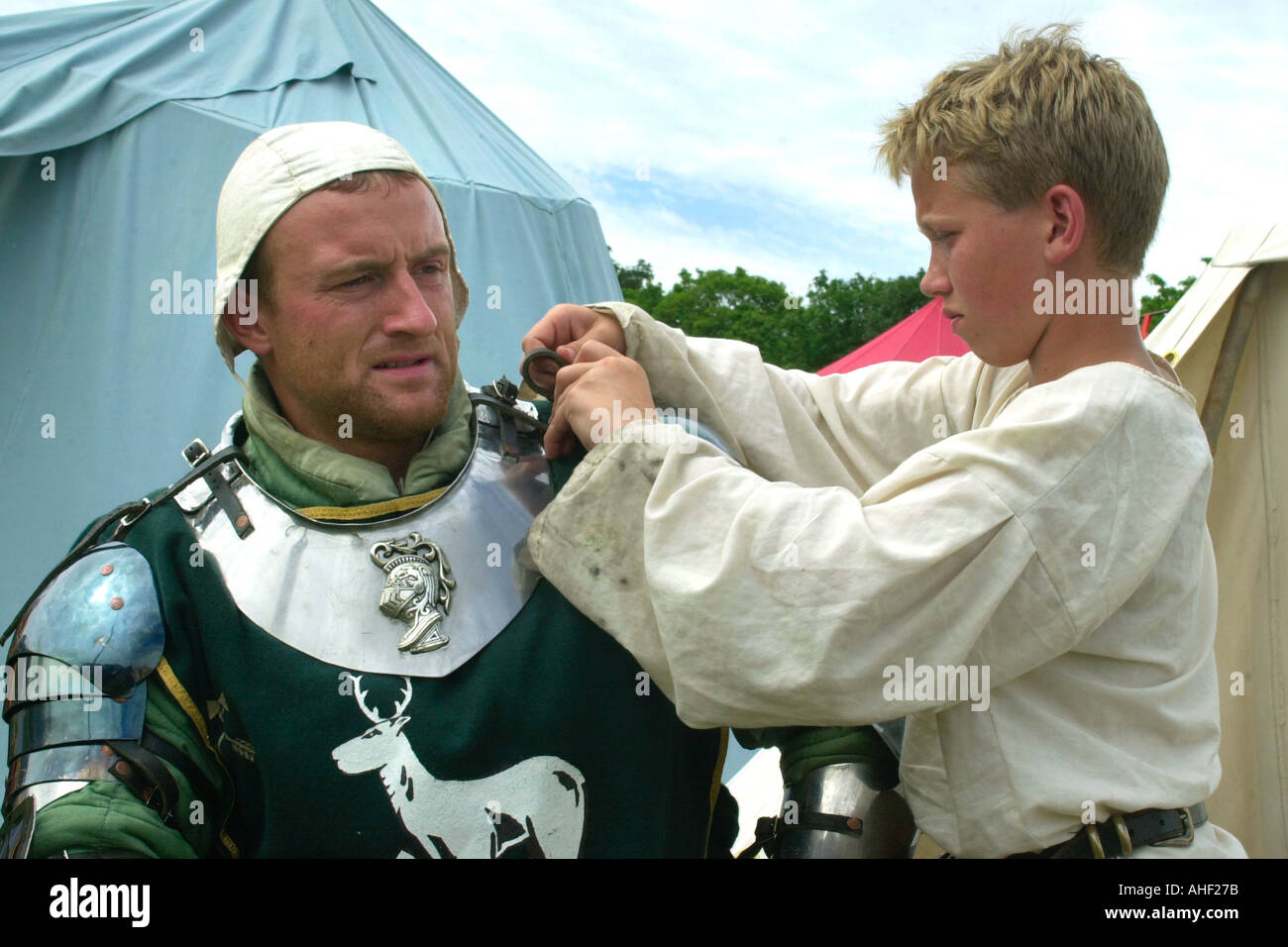 Reenactment of a medieval battle at Cosmeston Medieval Village South Wales uk - Stock Image