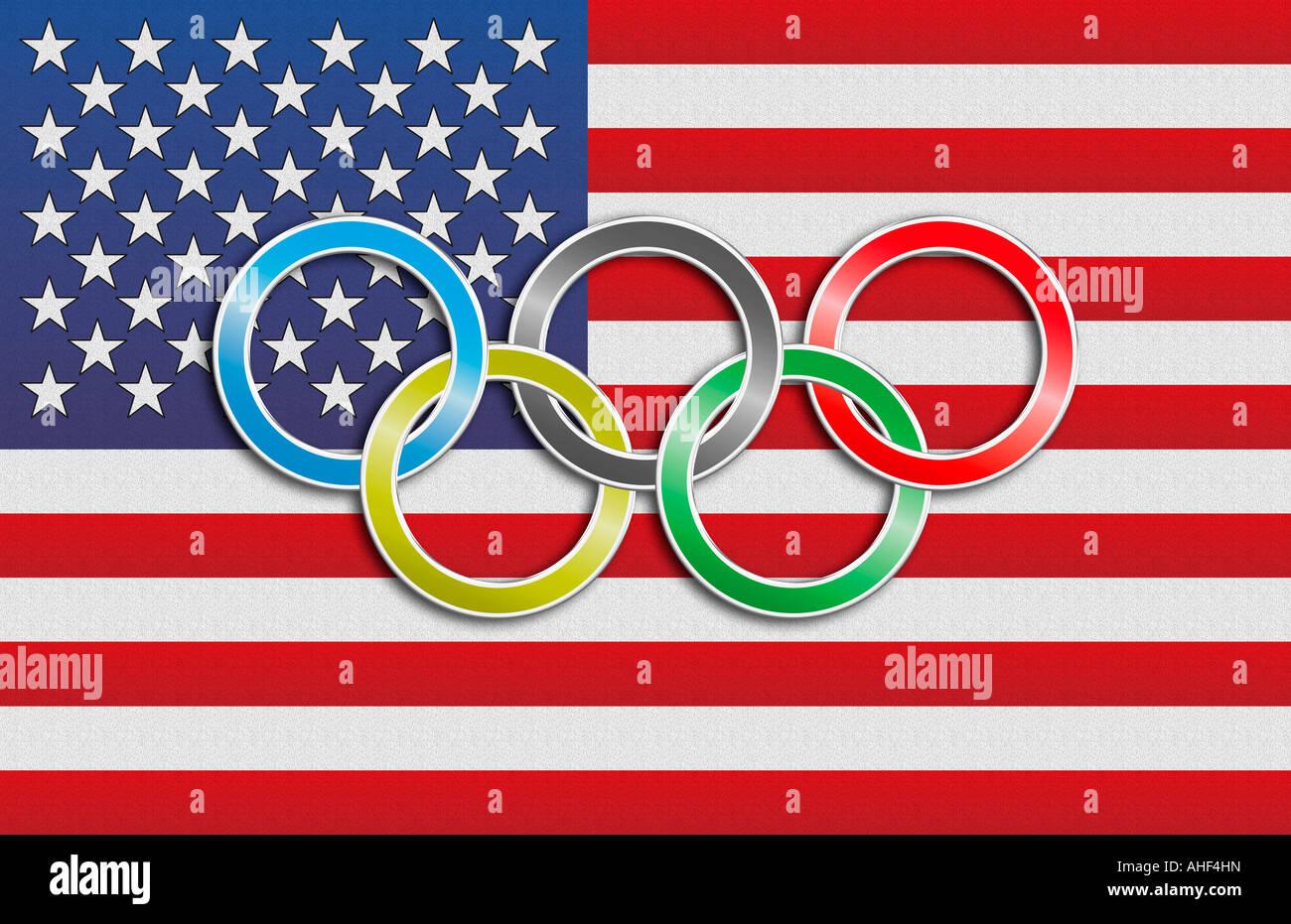 Flag Usa Olympic Rings Stock Photos Flag Usa Olympic Rings Stock
