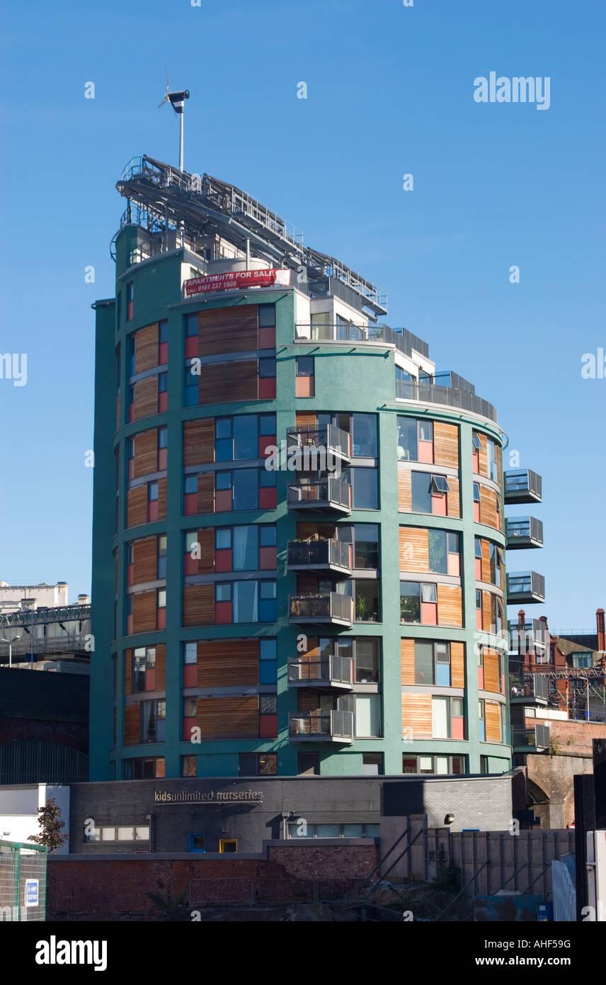 Environmentally designed apartment building, part of MacIntosh Village near Manchester city centre. - Stock Image