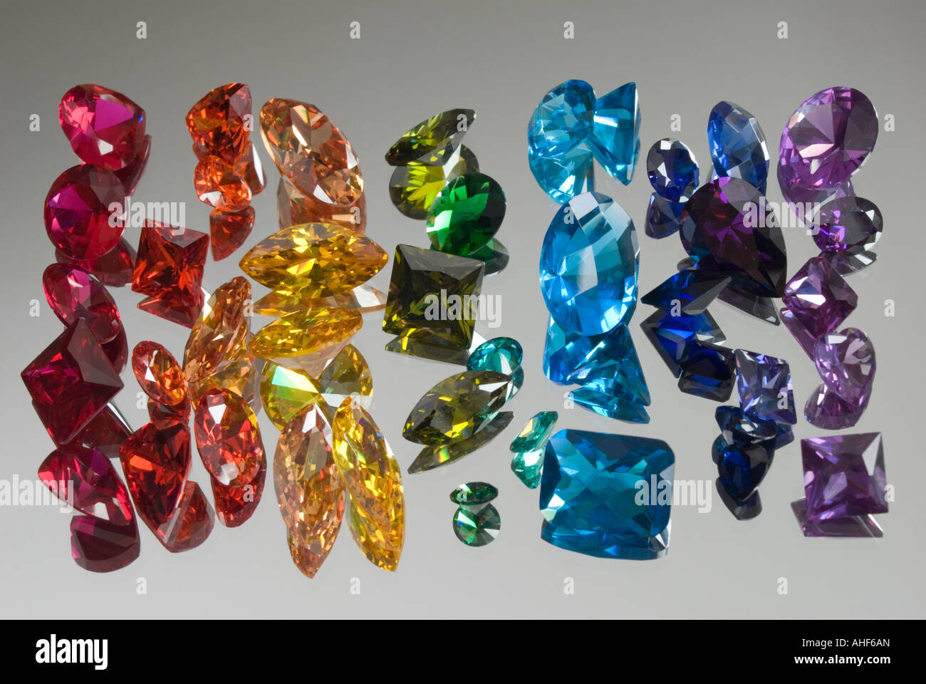 Cut gemstones in rainbow colours Stock Photo: 14455964 - Alamy
