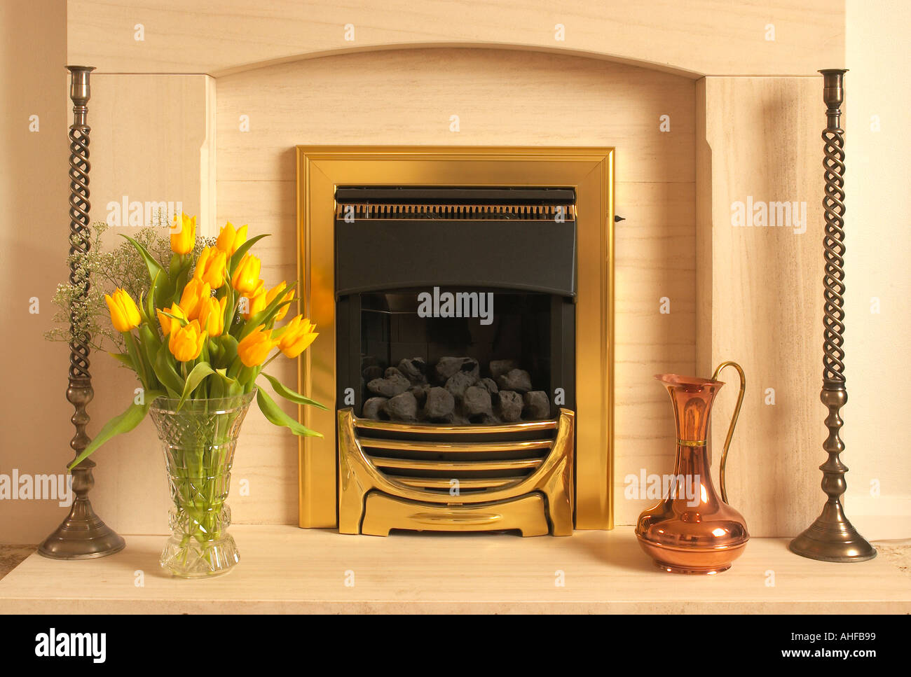Domestic Fireplace Display - Stock Image