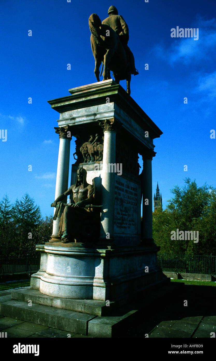 Statue of Lord Roberts, Kelvingrove Park, Glasgow, Scotland - Stock Image