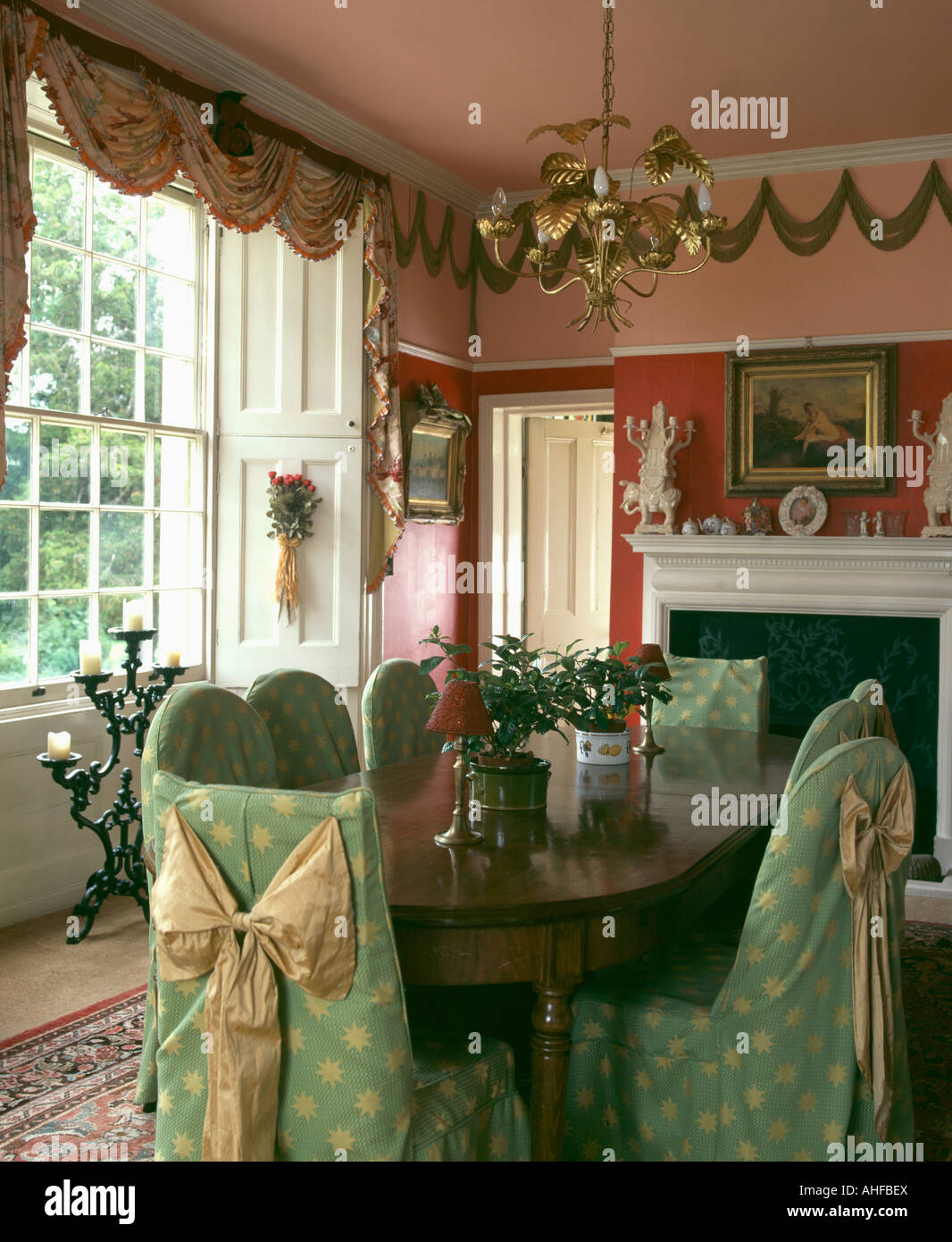 Terrific Green Loosecovers With Bows On Chairs In Nineties Peach Lamtechconsult Wood Chair Design Ideas Lamtechconsultcom