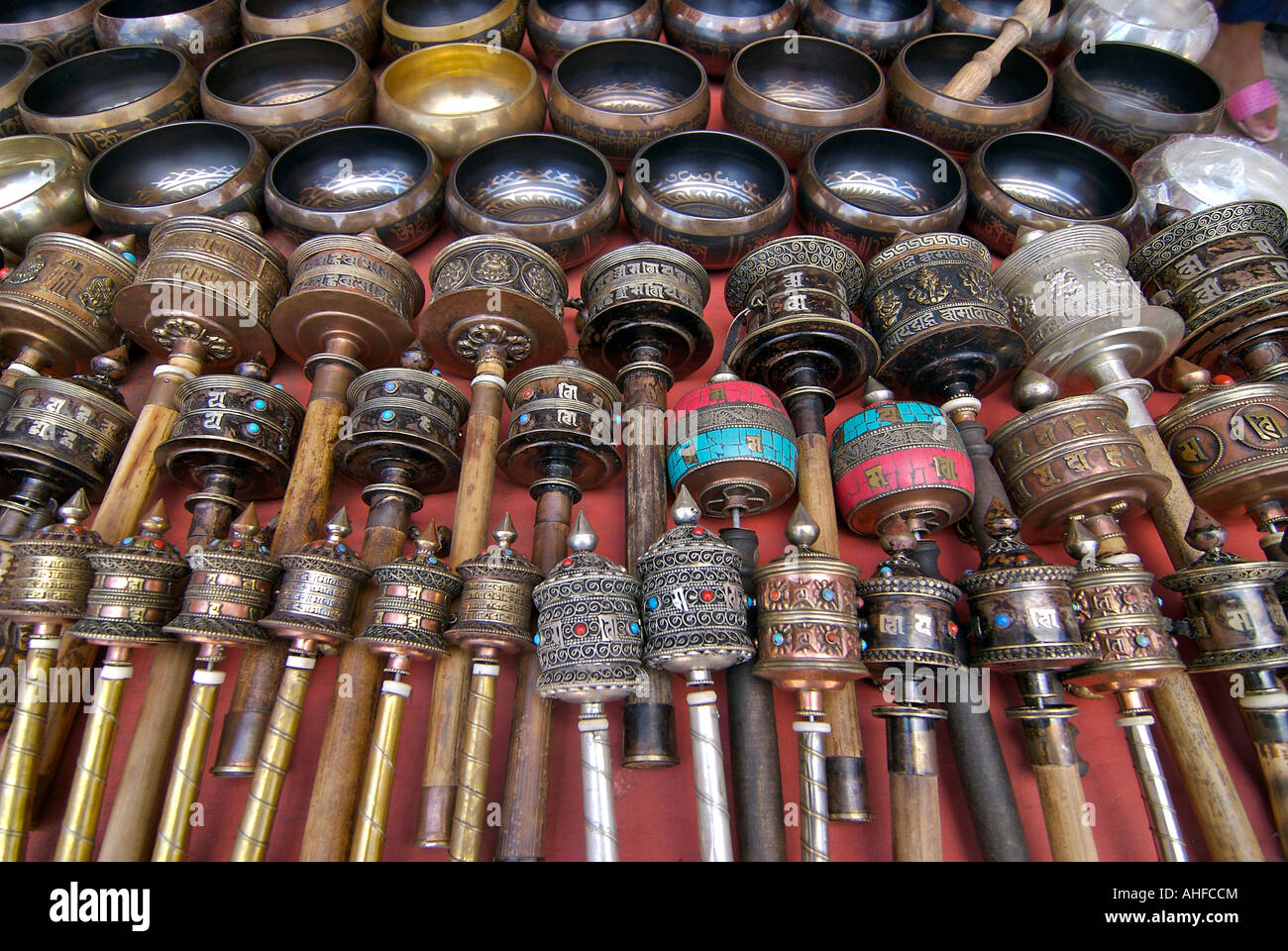 Nepalese And Tibetan Handicrafts Including Prayer Wheels For Sale On