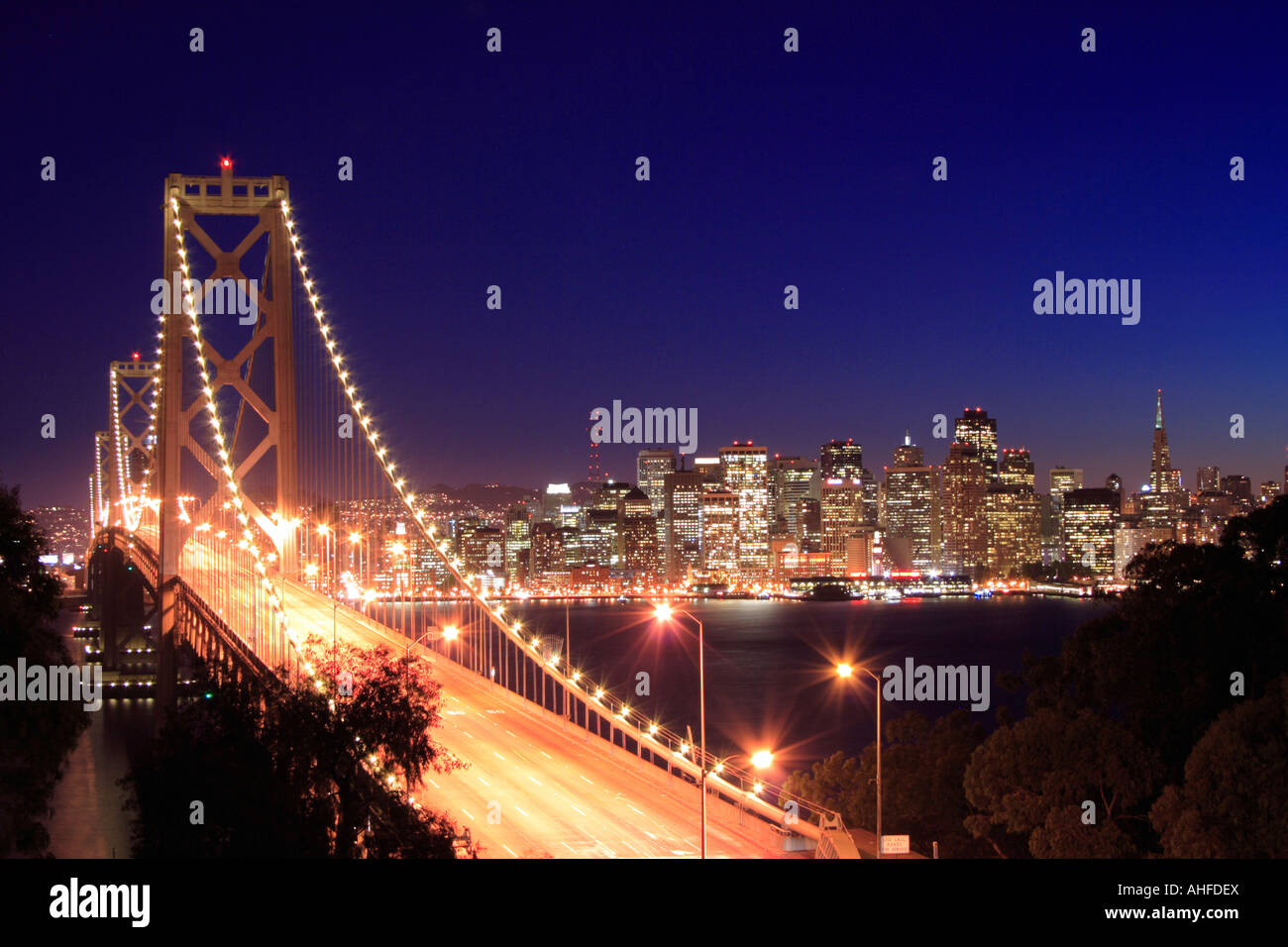 Oakland Bay Bridge at night, San Francisco Stock Photo