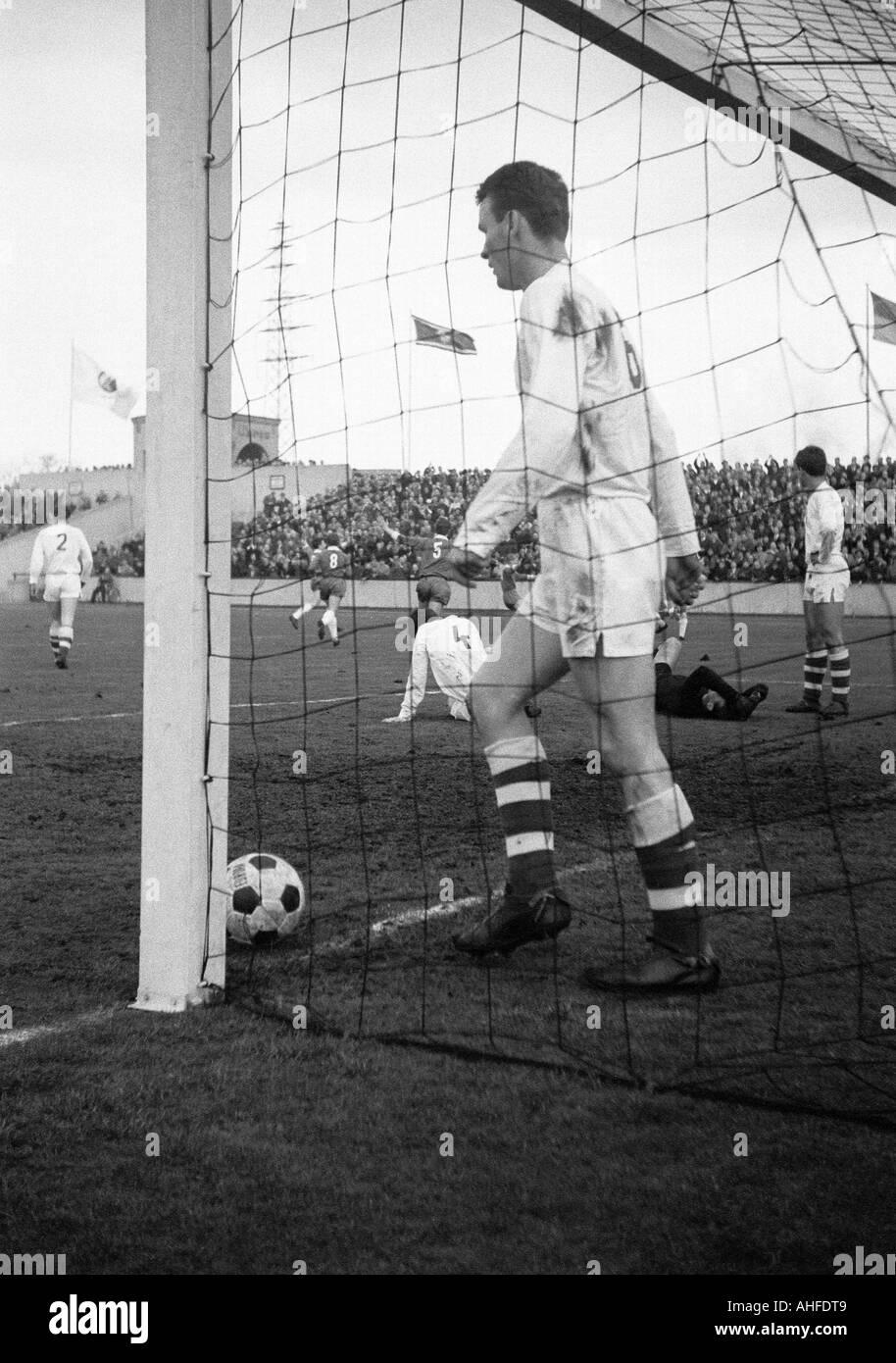 football, international UEFA youth class tournament 1965, semi-final, German Democratic Republic versus Czechoslovakia 2:1, Niederrhein Stadium in Oberhausen, scene of the match, GDR goal - Stock Image
