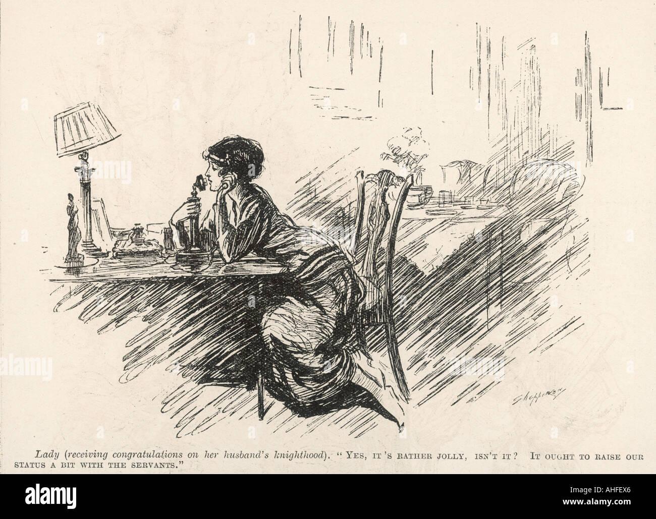 Lady On Phone 1919 - Stock Image