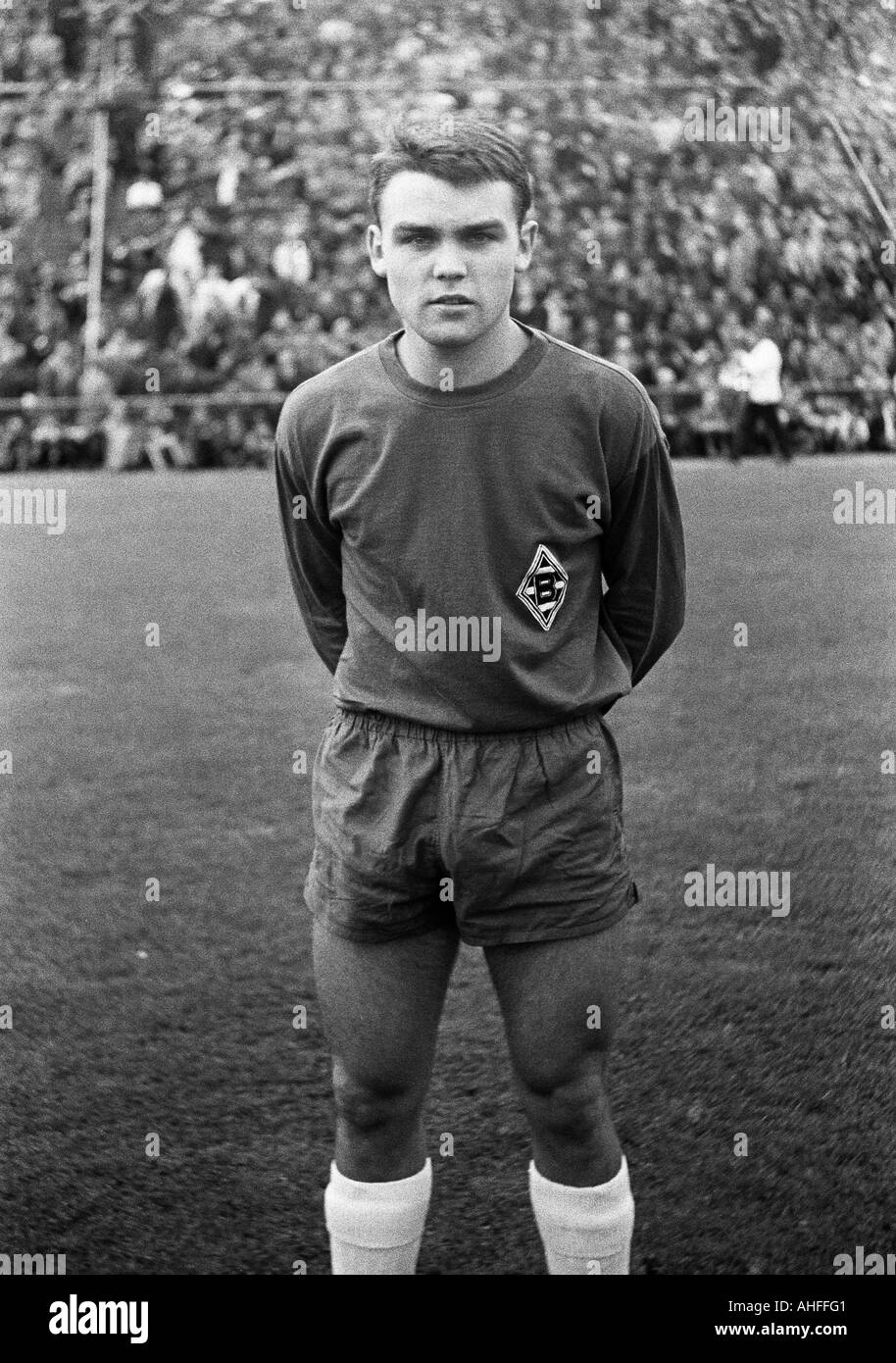 football, Bundesliga, 1965/1966, Boekelberg Stadium, Borussia Moenchengladbach versus Borussia Dortmund 4:5, football player, portrait of Herbert Laumen (Gladbach) - Stock Image