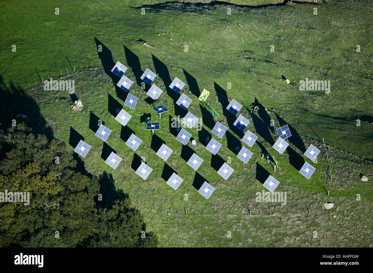 aerial view above solar panels in the mountains northern California CA - Stock Image