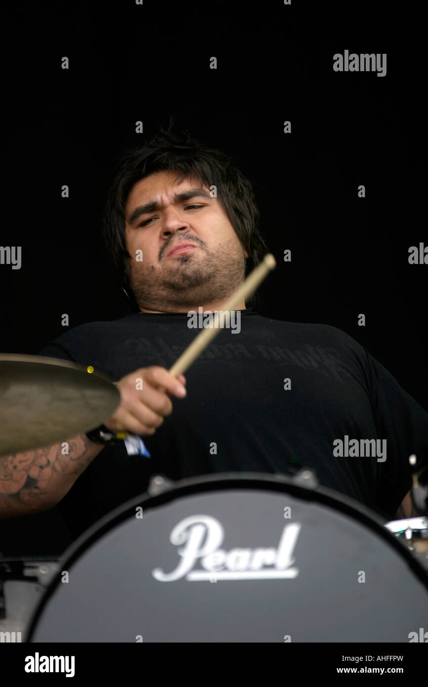 Dave Buckner, drummer, Papa Roach, Rock band, from Vacaville, California, percussion, percussionist, drum, drums, - Stock Image