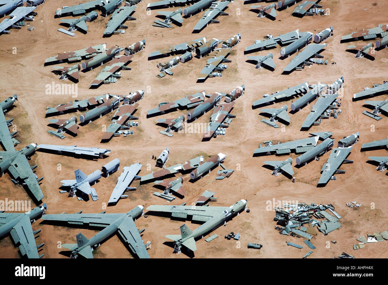 Aerial  Boeing B-52s in various stages of disassembly at the aircraft boneyard, Davis Monthan Air Force base, Tucson, Stock Photo