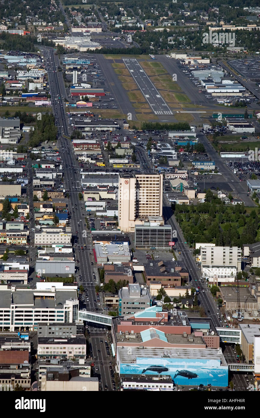 aerial view above Anchorage, Alaska, AK  Merrill Field airport Stock Photo