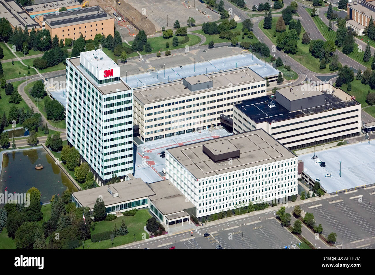 aerial view above 3M Company Center corporate headquarters of Minnesota Mining and Manufacturing corporation St. - Stock Image