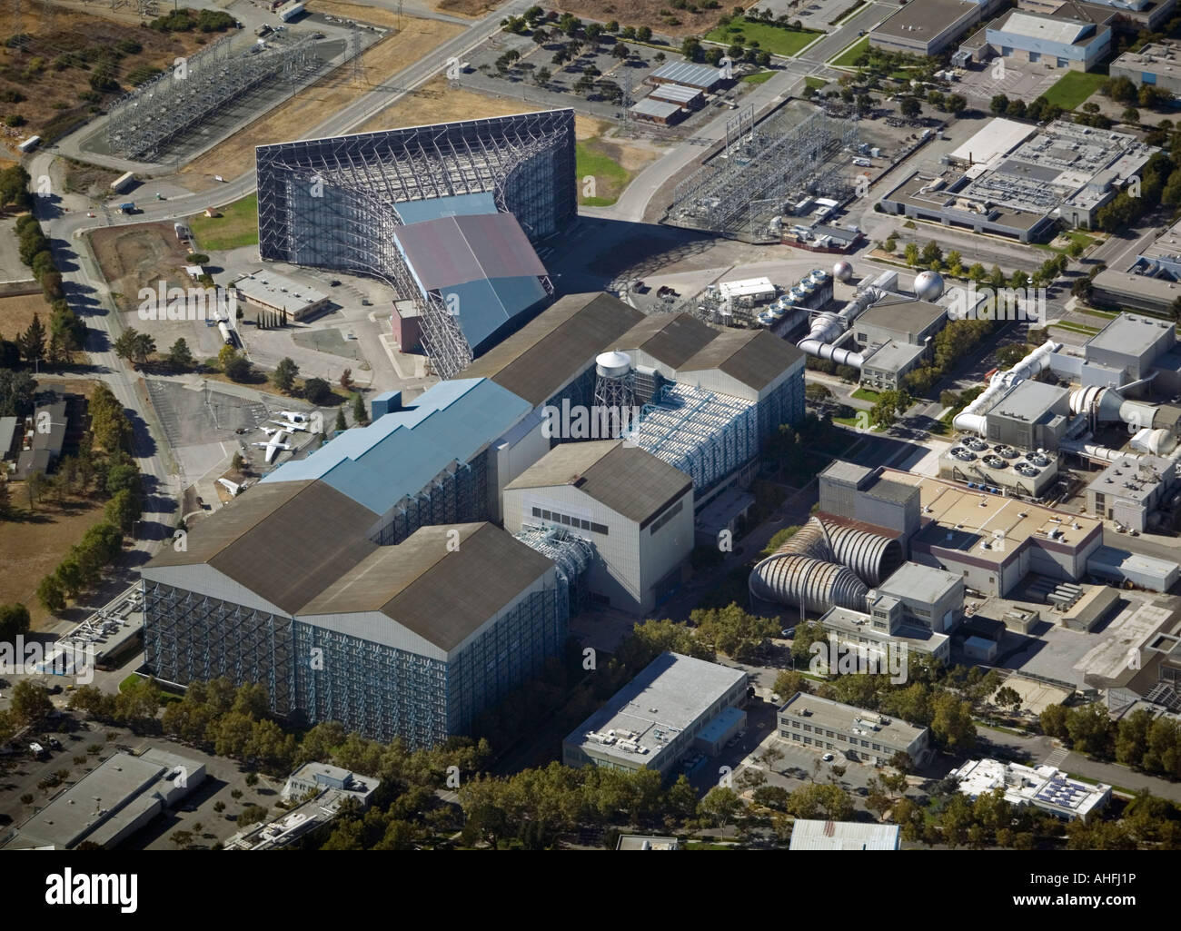 aerial view above Moffett Field NASA Ames research center wind tunnel Mountain View California - Stock Image