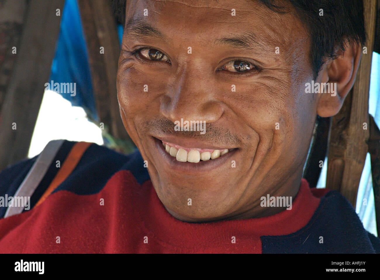 Portrait of a friendly rickshaw driver Durbar Square Kathmandu Nepal - Stock Image