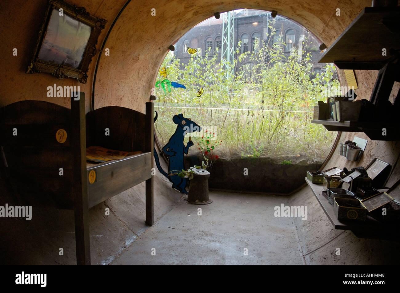 Kids nature trail, rat as a mascot, Henrichshuette Mine, Hattingen, Road of Industry Culture, Ruhr Area, NRW - Stock Image