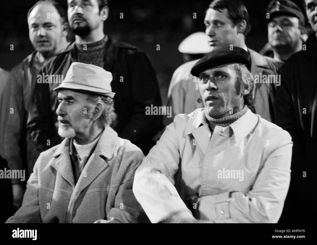 football, Bundesliga, 1972/1973, Wuppertaler SV versus FC Bayern Munich 1:1, Stadium am Zoo in Wuppertal, coaching Stock Photo