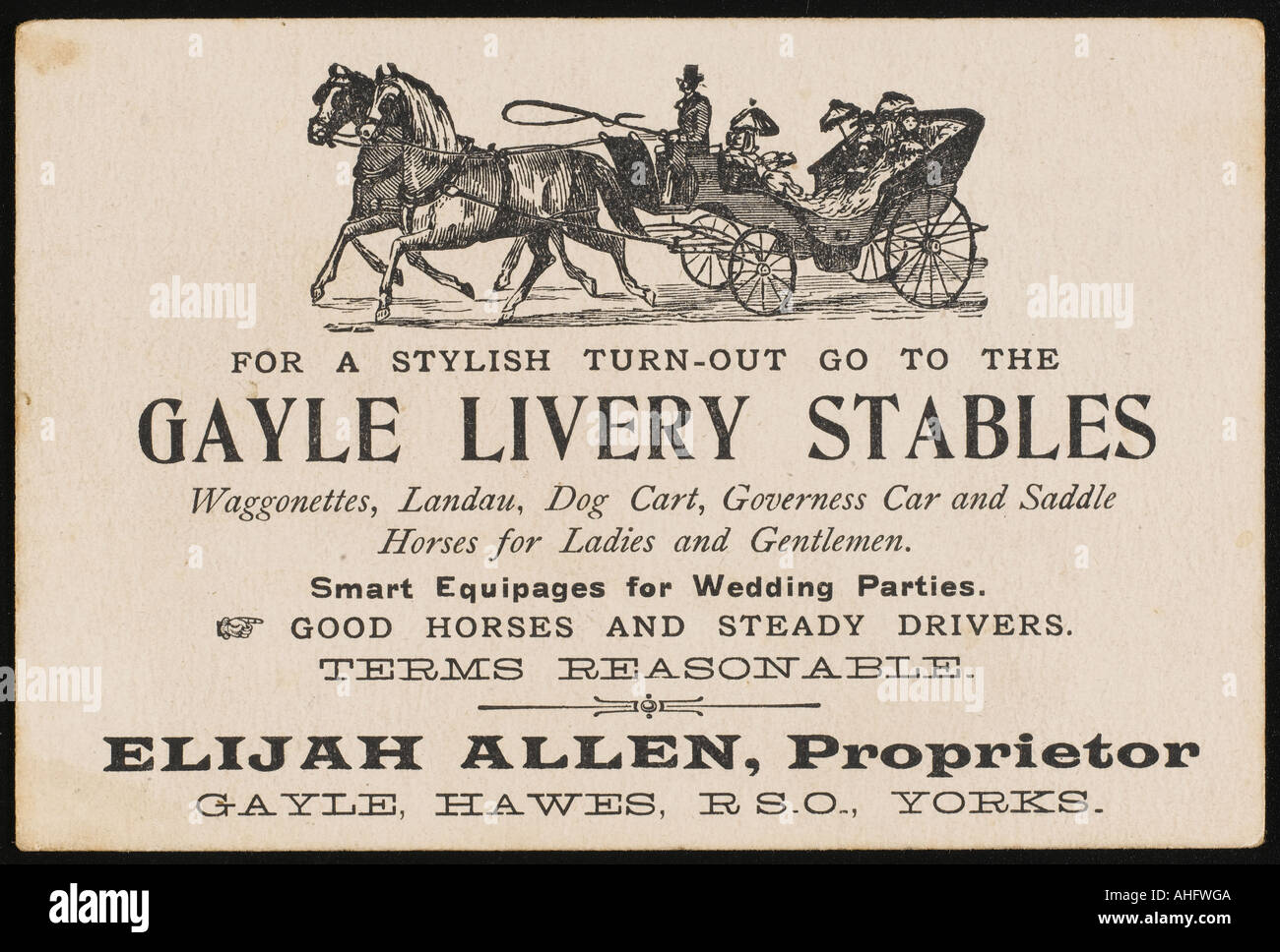 Livery Stable Card - Stock Image