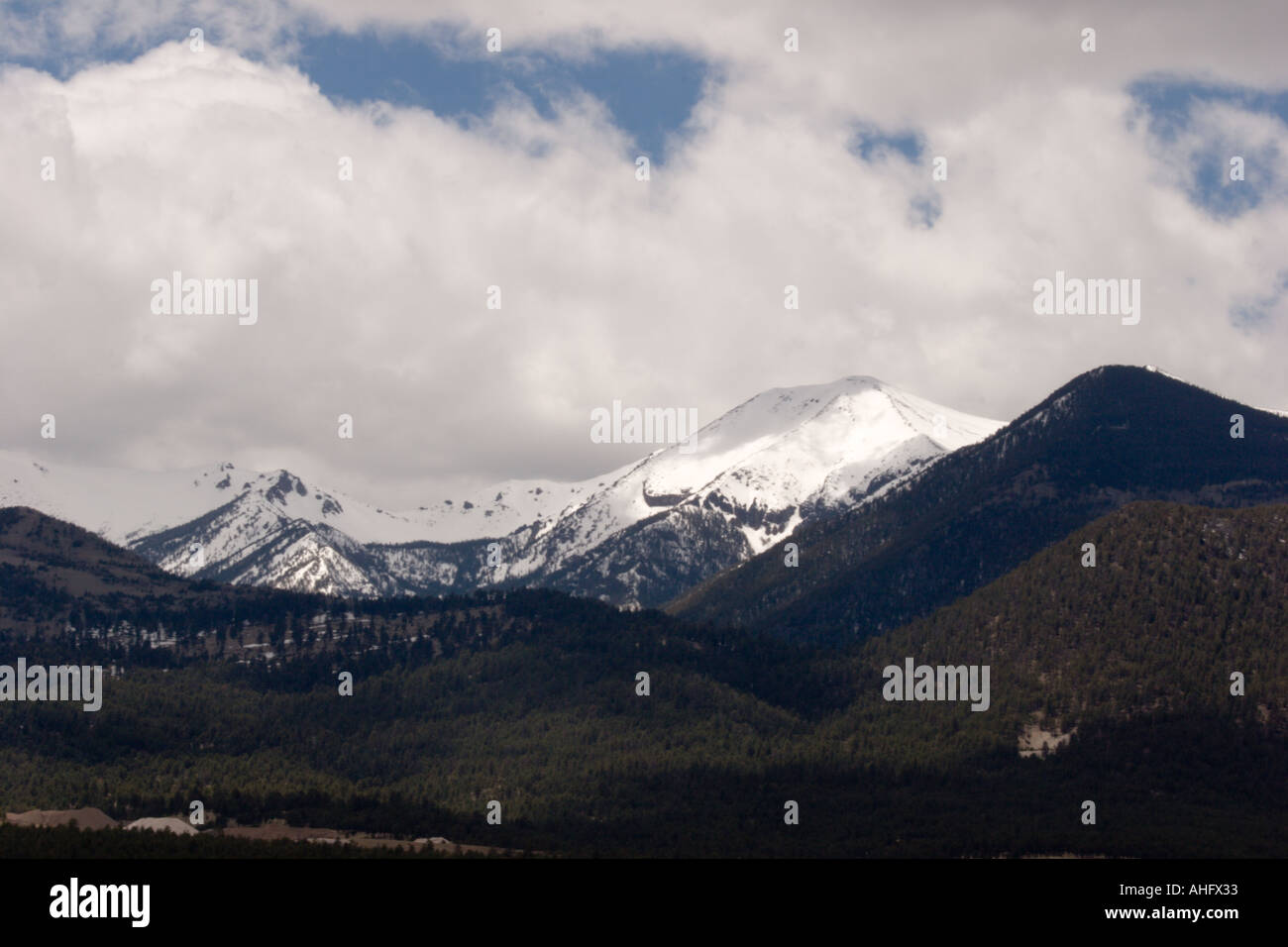 San Francisco Mountain, Flagstaff, Arizona, including Humphrey's Peak - at 12,633 ft this is Arizona's highest point - Stock Image