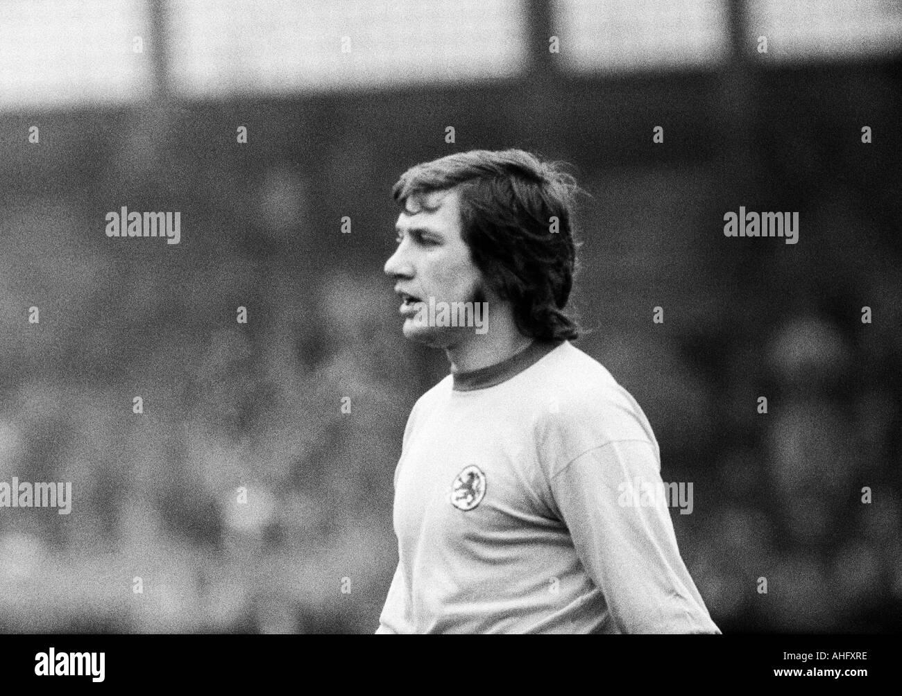 football, Bundesliga, 1972/1973, VfL Bochum versus Eintracht Brunswick 2:2, Stadium at the Castroper Strasse in Bochum, football player, Franz Merkhoffer (BS) - Stock Image