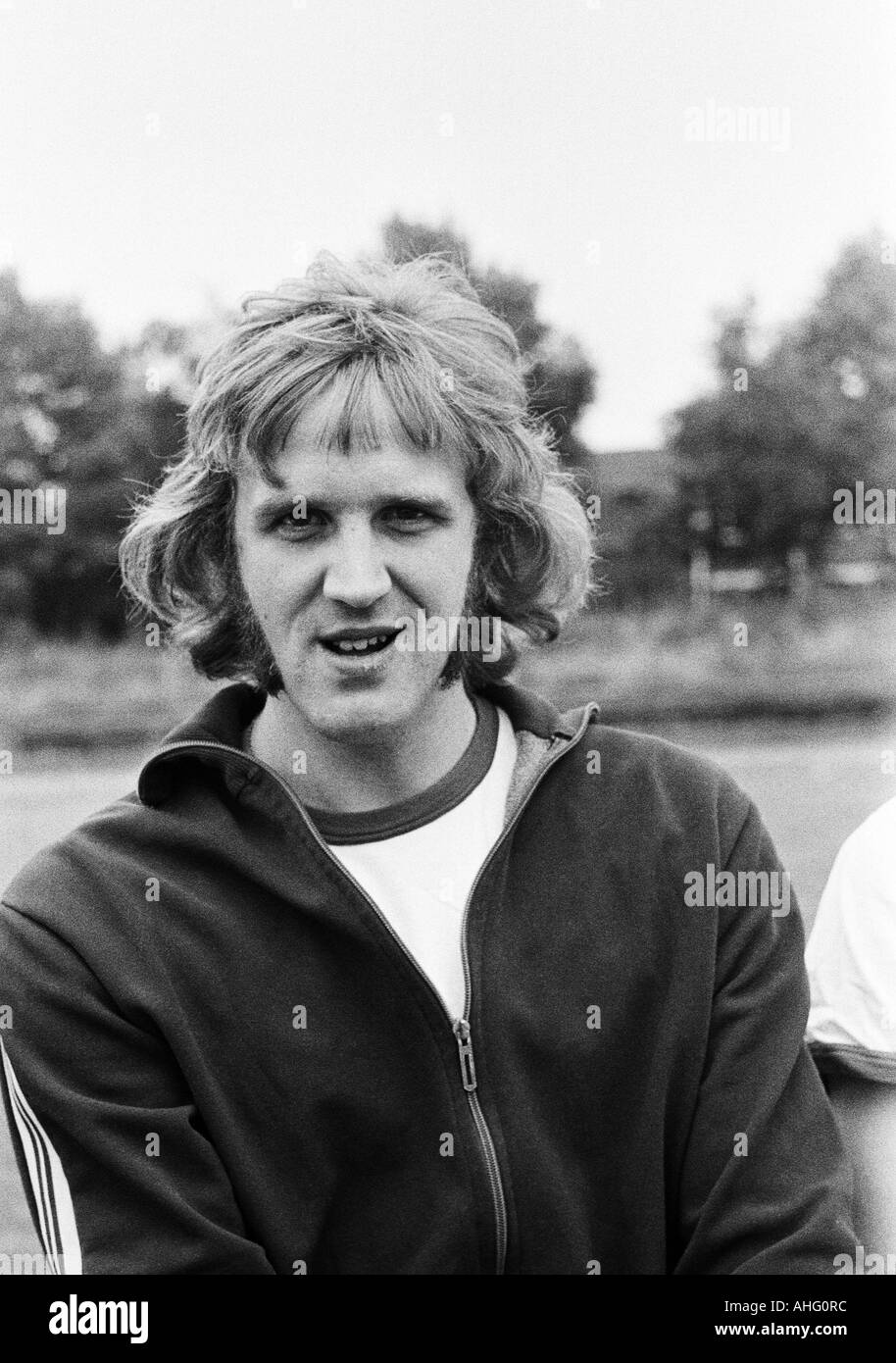 football, second Bundesliga North, Rot-Weiss Oberhausen, presentation of the team for the new saison 1974/1975, press photo shooting, portrait of keeper Hans Juergen van de Sand - Stock Image