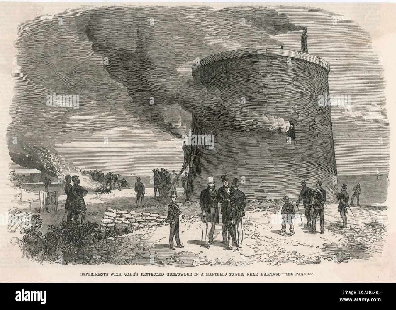 Testing Explosives 1866 - Stock Image