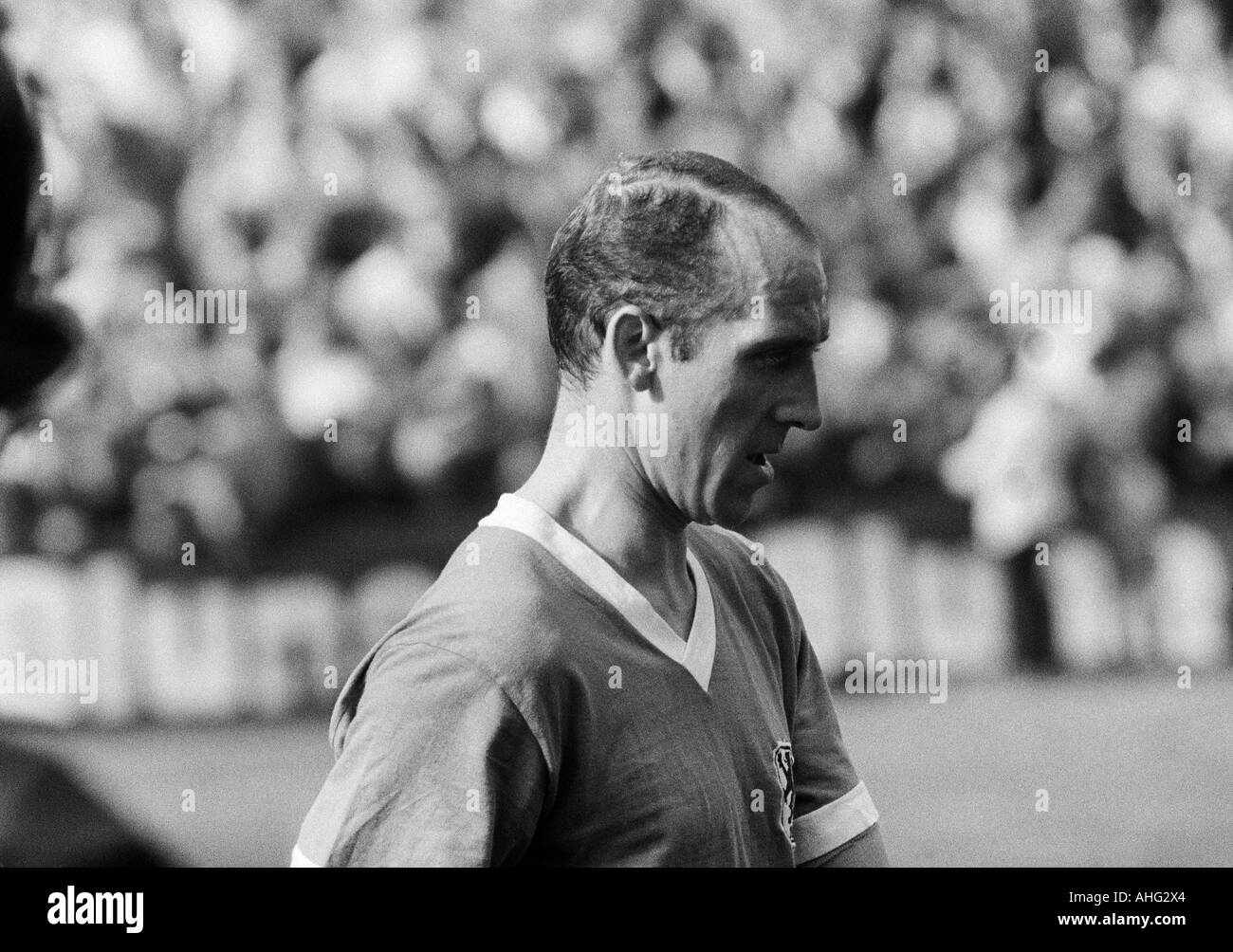 football, Bundesliga, 1966/1967, Stadium at the Hafenstrasse in Essen, Rot-Weiss Essen versus TSV 1860 Munich 2:2, football player, portrait of Peter Grosser (Munich) - Stock Image