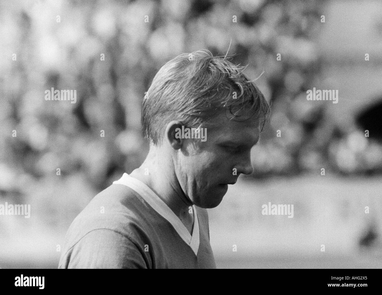 football, Bundesliga, 1966/1967, Stadium at the Hafenstrasse in Essen, Rot-Weiss Essen versus TSV 1860 Munich 2:2, football player, portrait of Hans Kueppers (Munich) - Stock Image