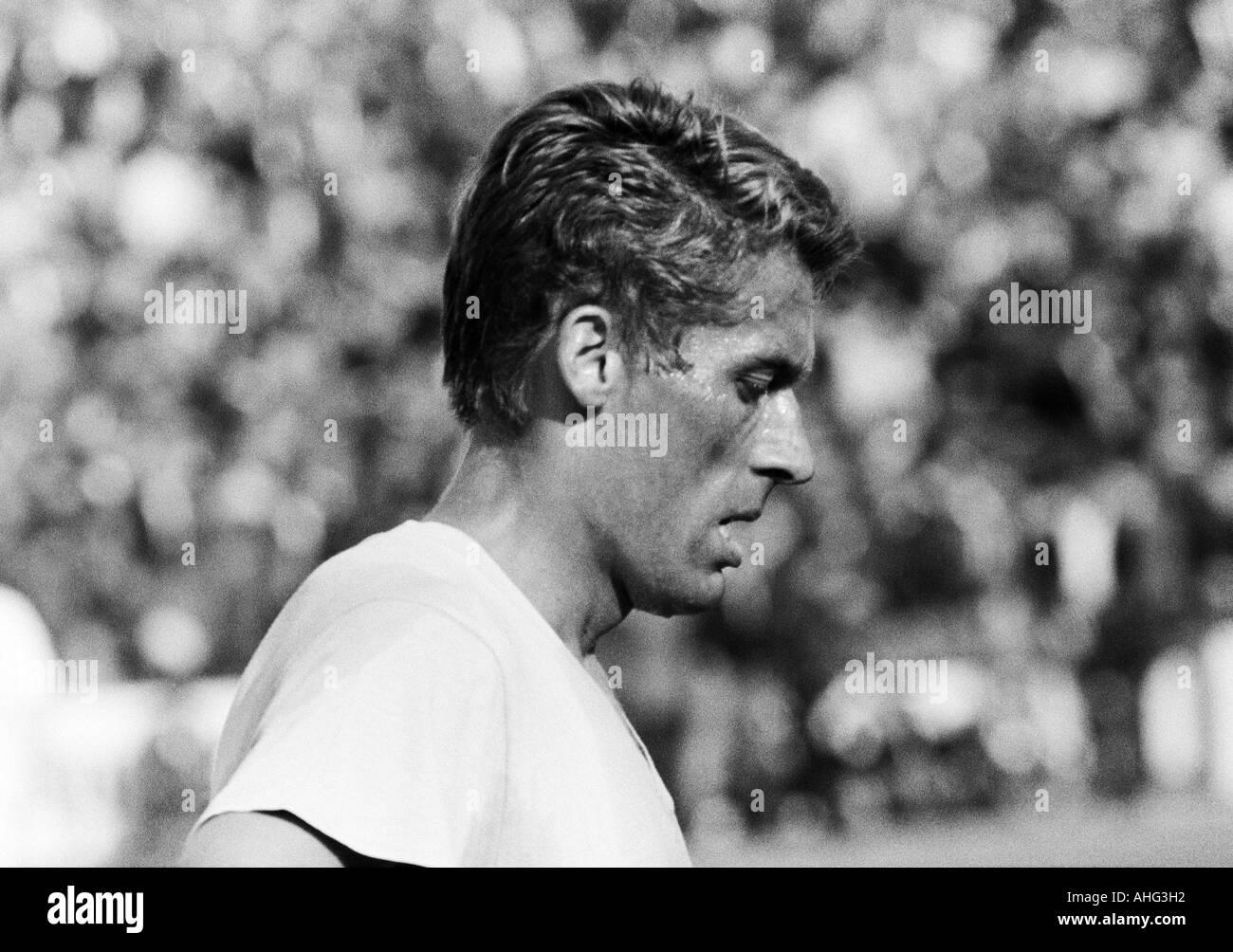 football, Bundesliga, 1966/1967, Stadium at the Hamburger Strasse, Eintracht Brunswick versus Borussia Moenchengladbach 2:1, football player, portrait of Juergen Moll (Braunschweig) - Stock Image
