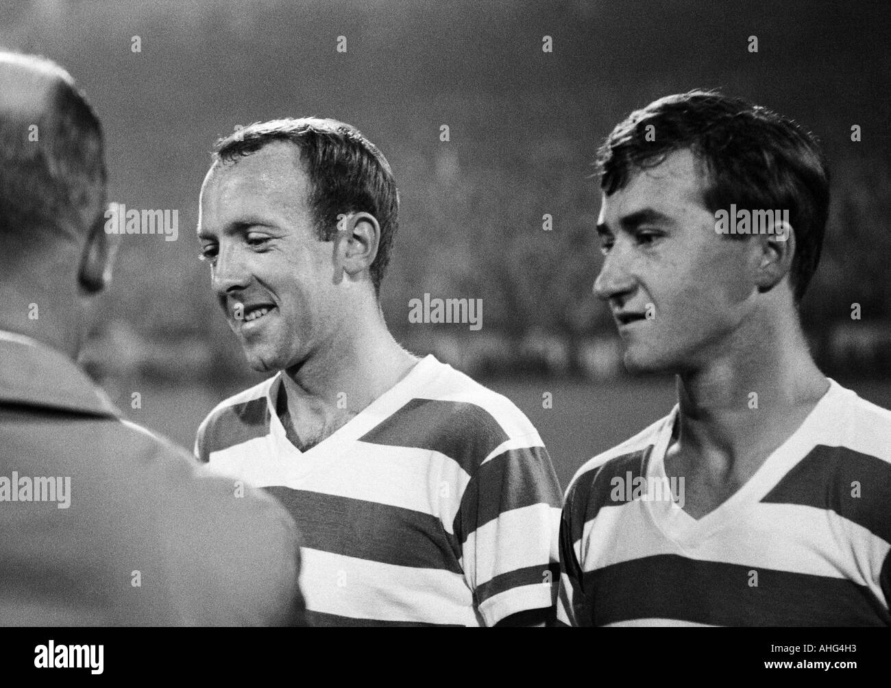 football, Bundesliga, 1967/1968, Wedau Stadium in Duisburg, MSV Duisburg versus Eintracht Frankfurt 0:1, football players, left Horst Gecks, right Michael Bella (both Duisburg) - Stock Image