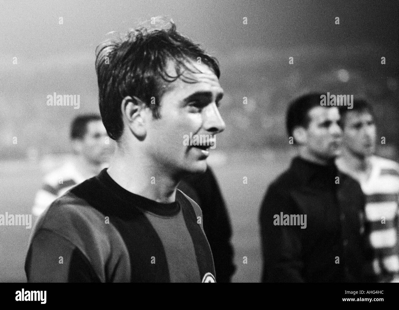 football, Bundesliga, 1967/1968, Wedau Stadium in Duisburg, MSV Duisburg versus Eintracht Frankfurt 0:1, football player Juergen Friedrich (Frankfurt) - Stock Image