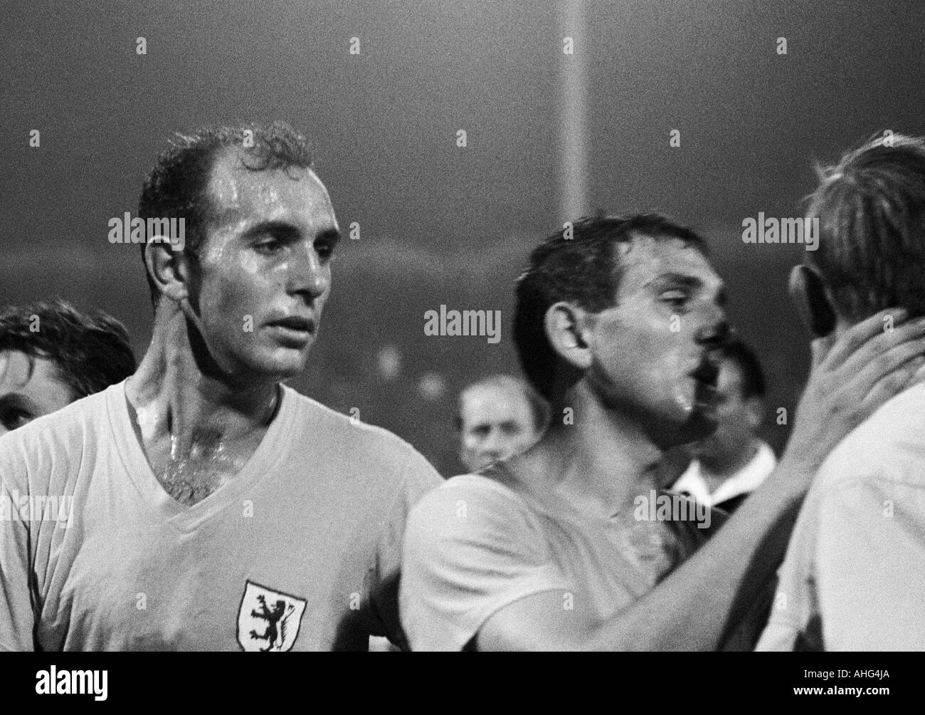 football, Bundesliga, 1967/1968, MSV Duisburg versus Eintracht Brunswick 2:3, Wedau Stadium in Duisburg, football players, left Joachim Baese, right Walter Schmidt (both Braunschweig) - Stock Image
