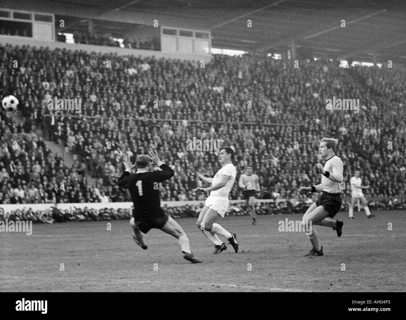 football, Bundesliga, 1967/1968, Borussia Moenchengladbach versus Borussia Dortmund 2:2, Boekelberg Stadium, scene of the match, f.l.t.r. keeper Bernhard Wessel (BVB), Peter Meyer (Gladbach), Theodor Redder (BVB) - Stock Image