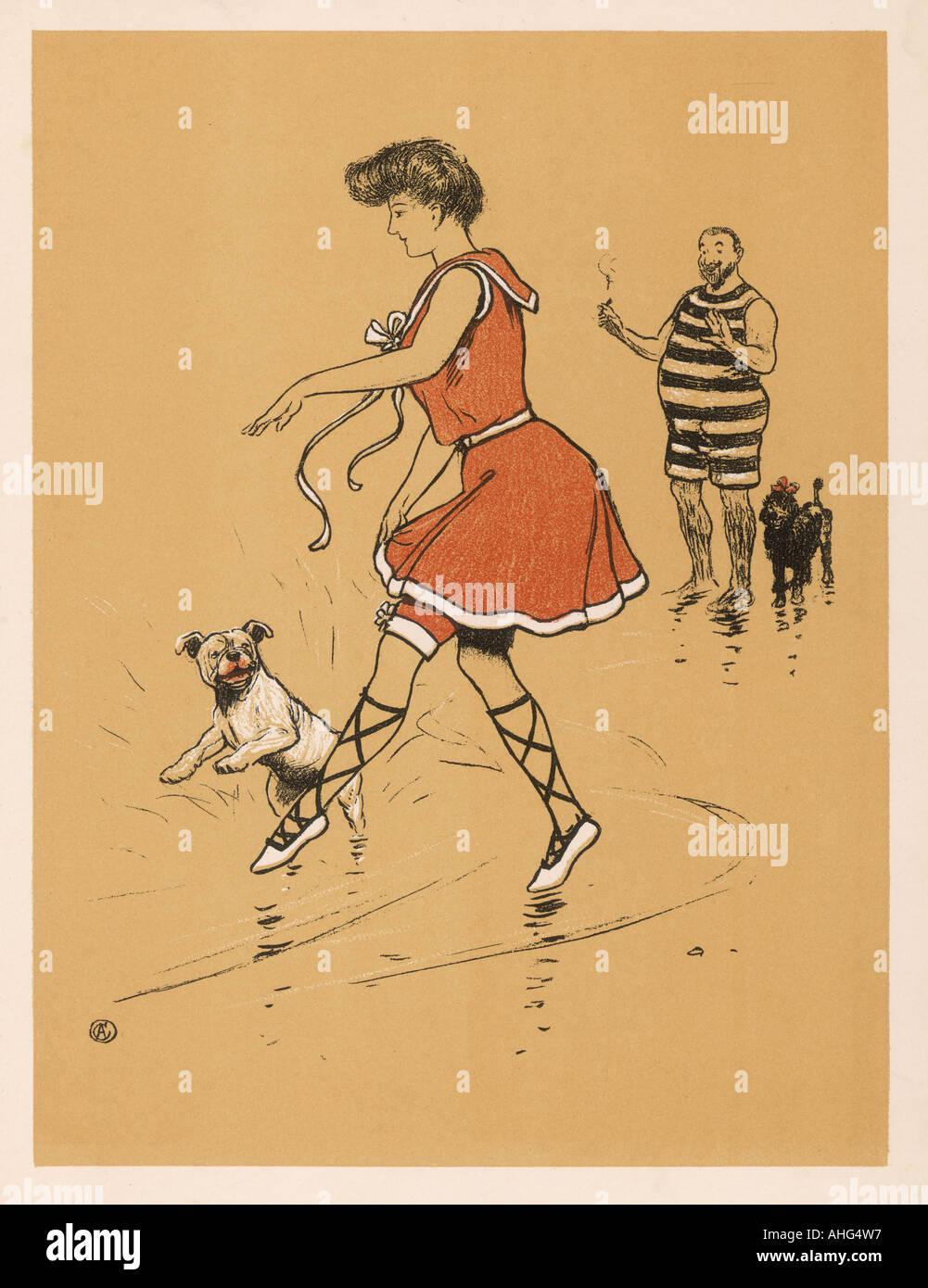 Woman Dog On Beach - Stock Image