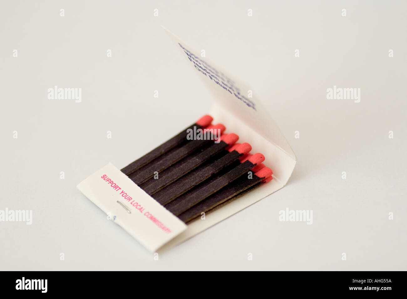 Open book match with matches - Stock Image