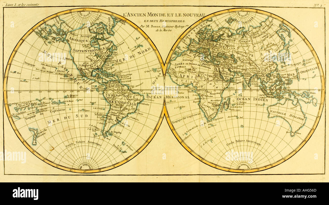 Map of World circa 1760.  From Atlas de Toutes Les Parties Connues du Globe Terrestre by Cartographer Rigobert Bonne. Published Geneva, circa 1760. - Stock Image