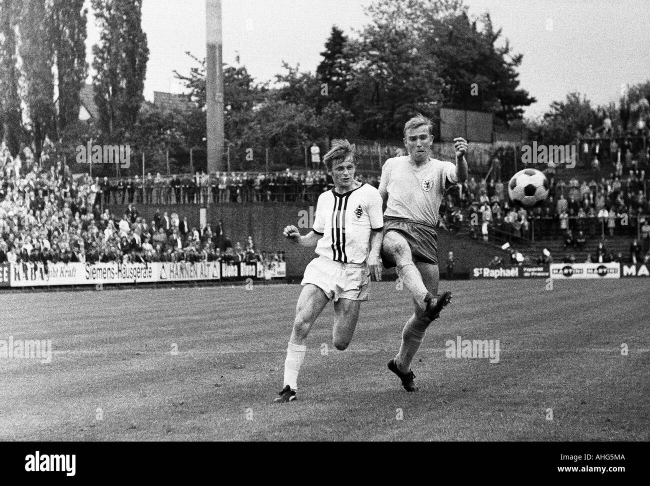 football, Bundesliga, 1968/1969, Boekelberg Stadium, Borussia Moenchengladbach versus Eintracht Brunswick 1:1, scene of the match, duel between Klaus Ackermann (Gladbach) left and Peter Kaack (Braunschweig) - Stock Image