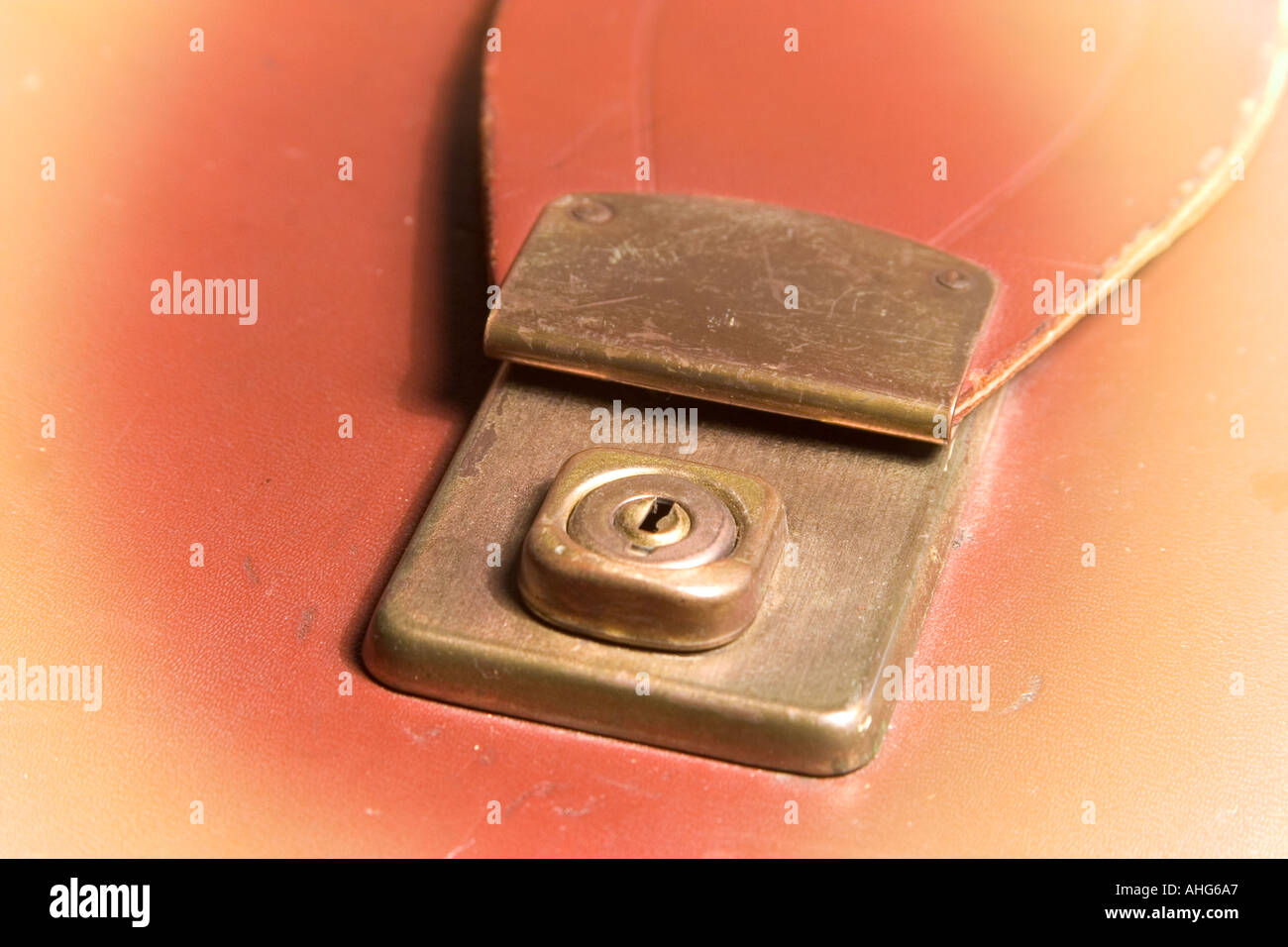 Lock on old briefcase Stock Photo
