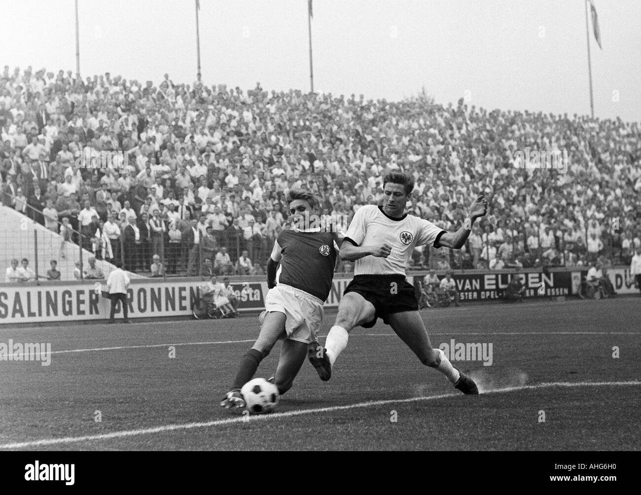 football, friendly game, 1969, Stadium an der Hafenstrasse in Essen, Rot-Weiss Essen versus Eintracht Frankfurt 2:1, scene of the match, duel between Helmut Littek (RWE) left and Friedel Lutz (Frankfurt) - Stock Image