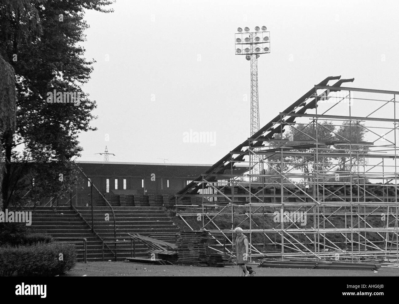 football, Bundesliga, 1969/1970, Glueckaufkampfbahn Stadium in Gelsenkirchen, stadium of FC Schalke 04, additional stand seats - Stock Image
