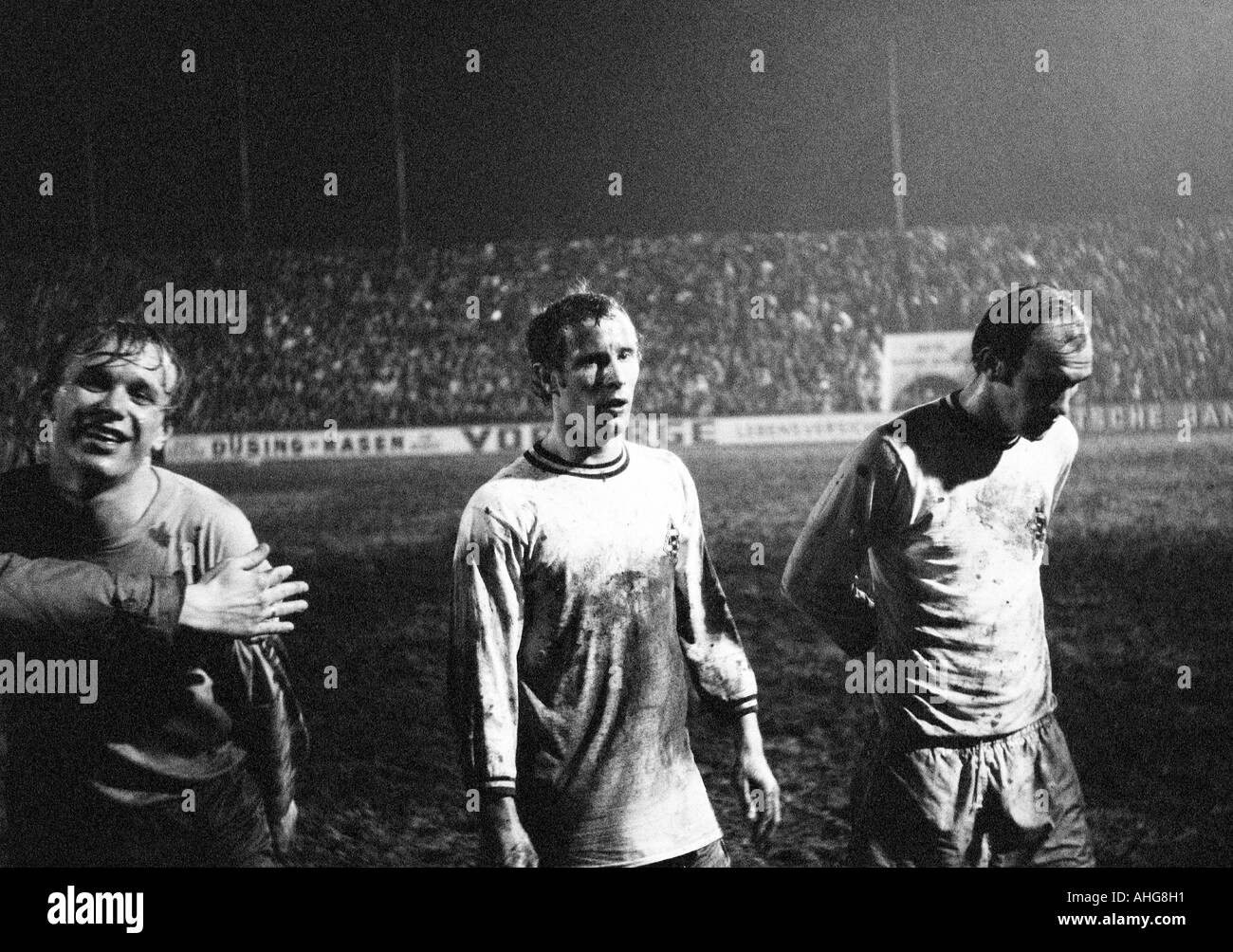 football, Bundesliga, 1969/1970, Stadium at the Hafenstrasse in Essen, Rot-Weiss Essen versus Borussia Moenchengladbach Stock Photo