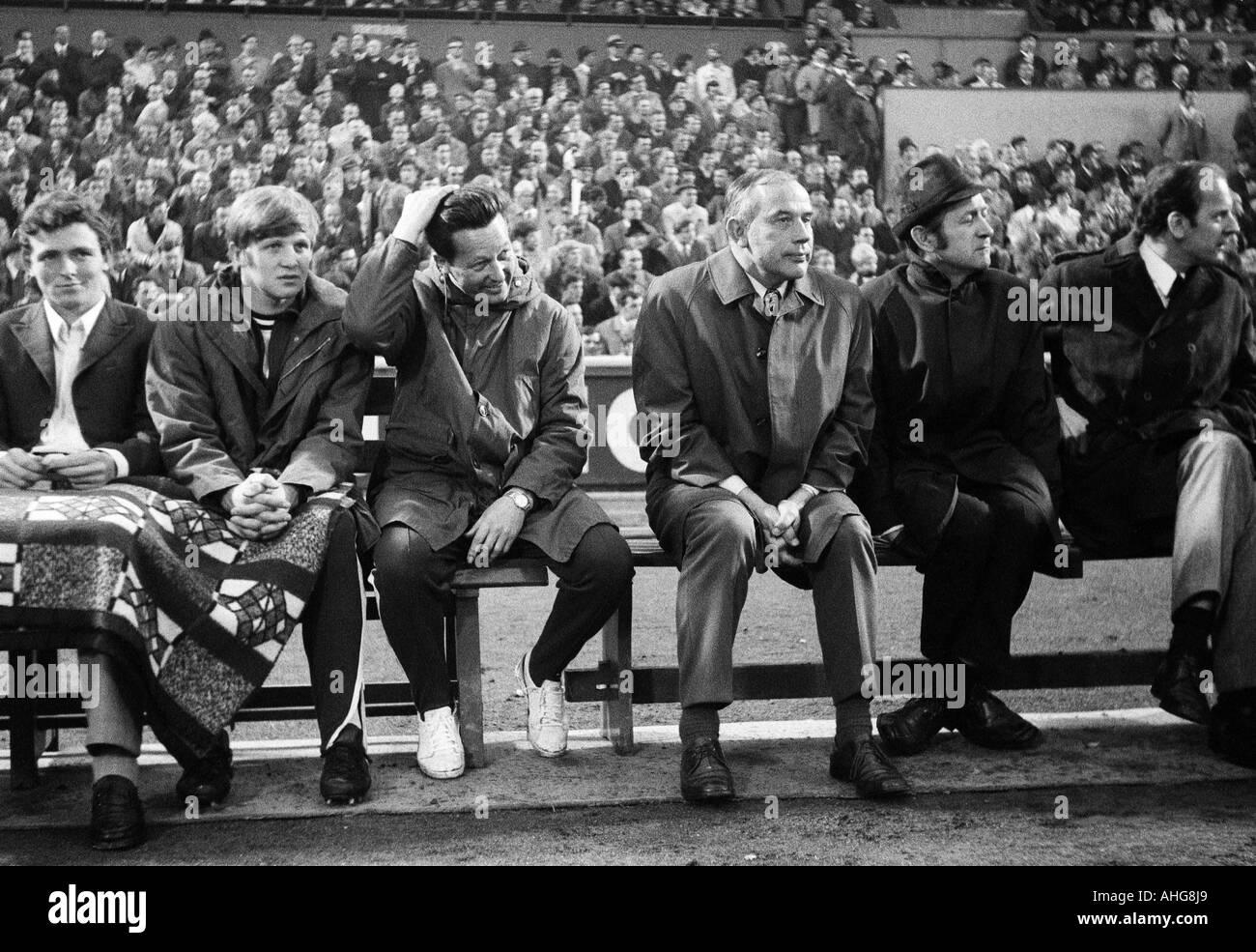 football, Bundesliga, 1969/1970, Rot-Weiss Oberhausen versus Borussia Moenchengladbach 3:4, Niederrhein Stadium in Oberhausen, Gladbach had achieved the German football league championship 1970 before this match already, it was the first championship of B - Stock Image