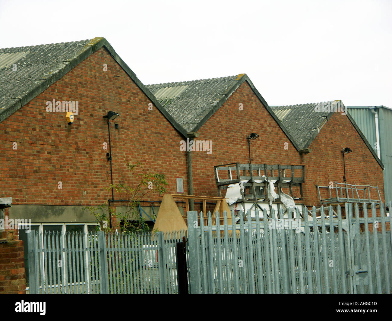 Asbestos cement sheeting used on a factory roof Stock Photo