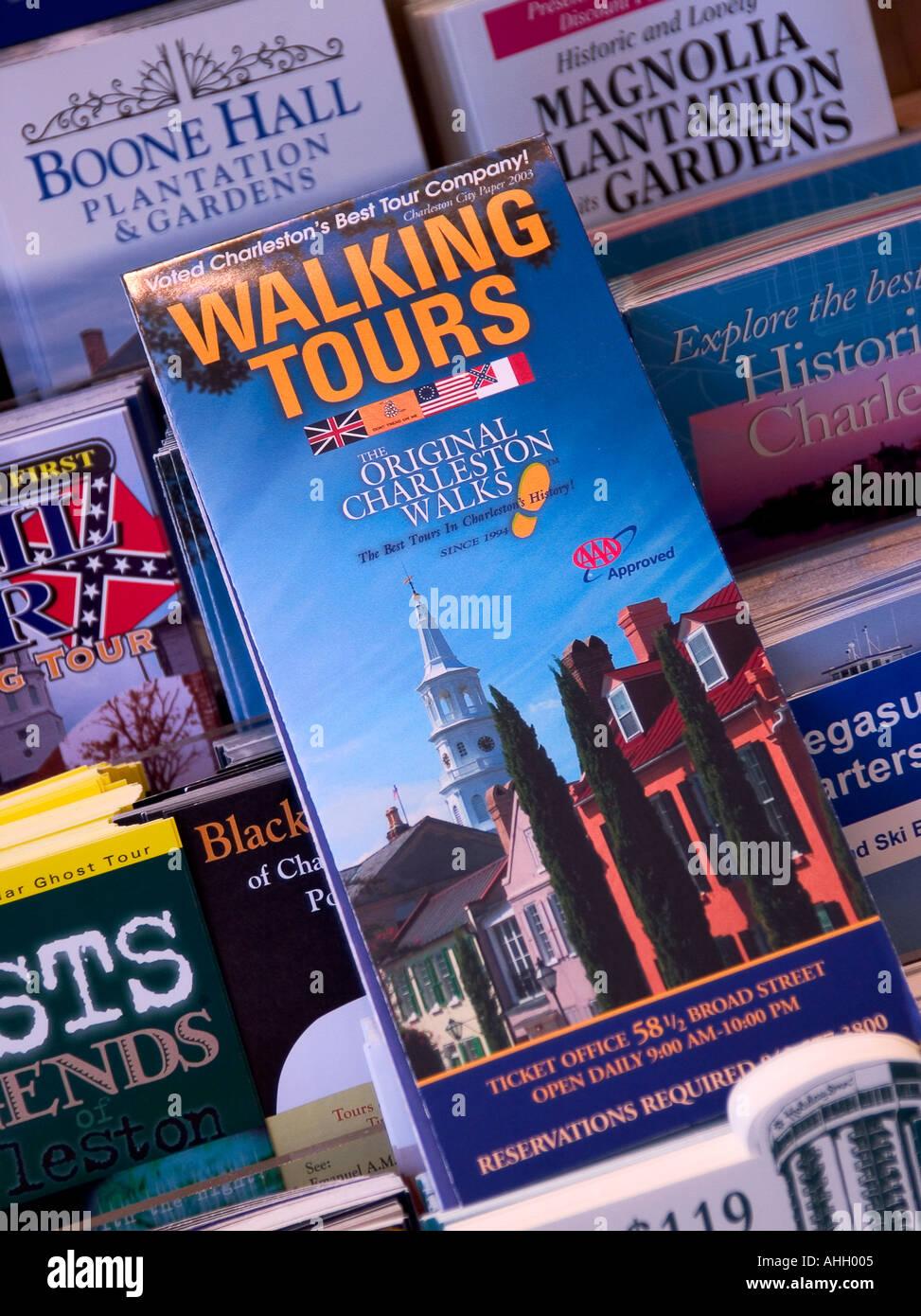 Walking Tours Brochure Charleston South Carolina USA - Stock Image