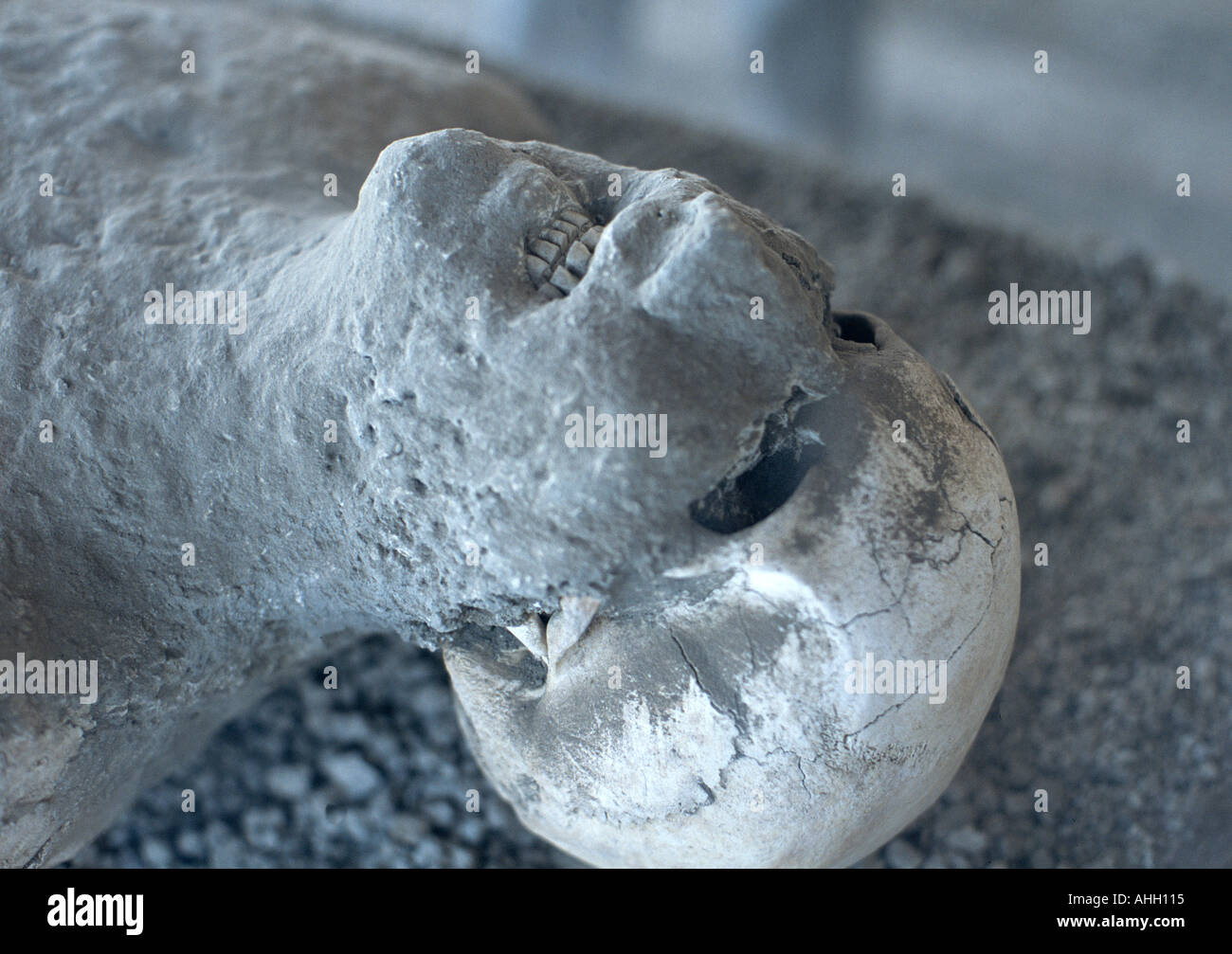 Plaster cast of Citizen of Pompei at archaeology collection Pompeii Italy - Stock Image
