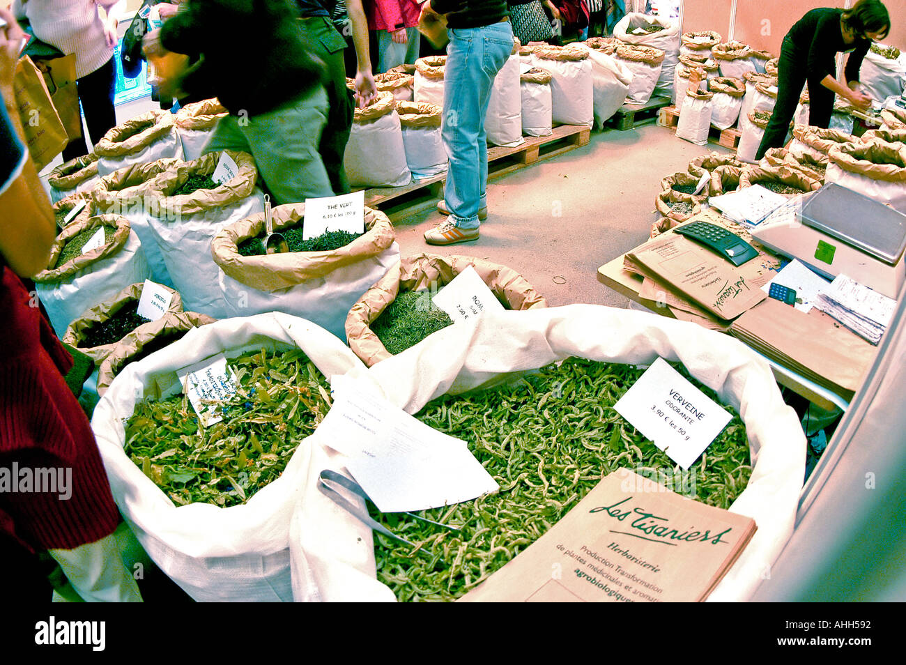 'Alternative Medicine' 'Herbal Medicines' Herbs for Sale at Exhibit in Paris France healthcare Natural Organic 'Trade Show' - Stock Image